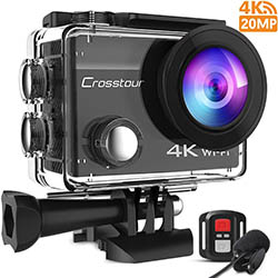 Crosstour 4K Caméra Sport 20MP Webcam WiFi